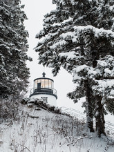 A Lighthouse Peeks Out From Behind Some Snow Covered Trees On The Coast Of Maine.