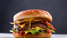 Juicy Beef Burger. Grilled Be...