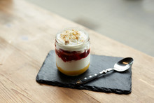 Service Presentation Of A Iogurt Dessert In A Cafe