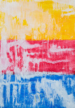 Watercolour Painting Of Red Blue And Yellow Colours