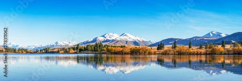 Poster Piscine Panorama Mountain Landscape In Mountains, New Zealand Nature Scenery