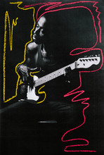 Low Res Mixed Media Print Of A Man Playing Electric Guitar With Chalk Markings Added