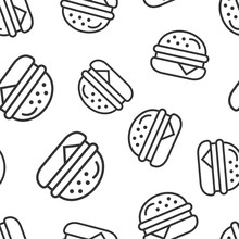 Burger Sign Icon Seamless Pattern Background. Hamburger Vector Illustration On White Isolated Background. Cheeseburger Business Concept.