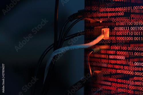 computer virus transfer into desktop pc by internet LAN line Billede på lærred