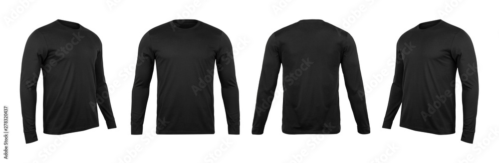 Fototapeta Blank black long sleve t-shirt mock up template, front and back and side view, isolated on white background with clipping path.