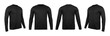 Leinwandbild Motiv Blank black long sleve t-shirt mock up template, front and back and side view, isolated on white background with clipping path.