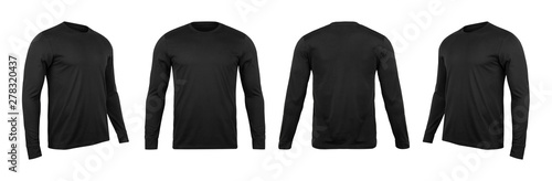 Blank black long sleve t-shirt mock up template, front and back and side view, isolated on white background with clipping path. - 278320437