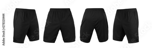 Obraz Blank black shorts pant mock up template, front and back and side view, isolated on white background with clipping path. - fototapety do salonu