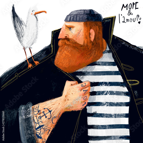 Fotomural portrait of cartoon sailor with seagull and tattoo