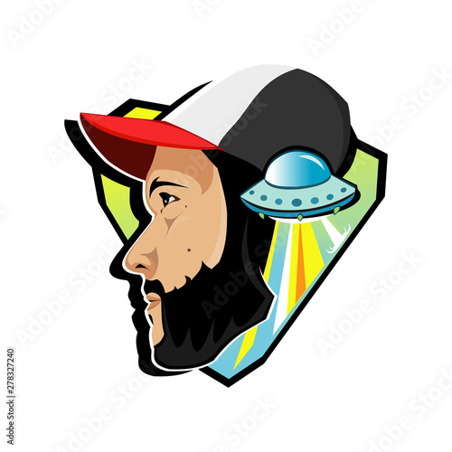 Man in a baseball cap and UFO Canvas Print
