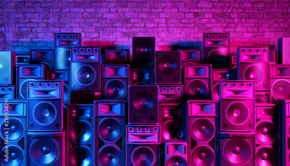 Fototapeta Speakers on the background of an old brick wall in the enon light, 3d illustration