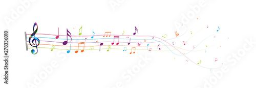 Fotografía  Colorful Music notes , isolated on white background