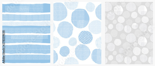 fototapeta na ścianę Hand Drawn Childish Style Geometric Vector Patterns. Blue Vertical Stripes and Irregular Big Dots on a White Background. White Grid On a Blue Lines and Spots. Funny Print for Textile, Wrapping Paper.