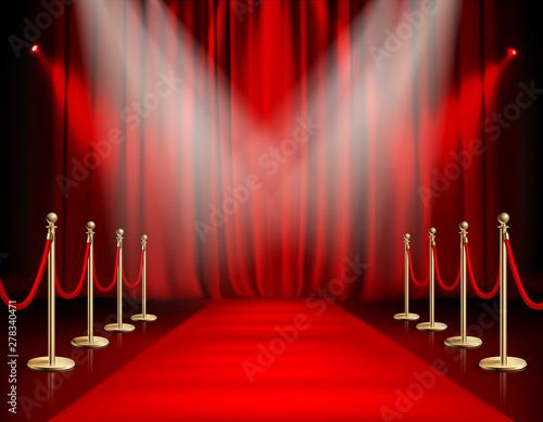Obraz Red Carpet With Curtain - fototapety do salonu