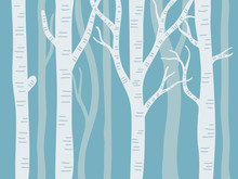 Vector Illustration Of Aspen Trees With Blue Background