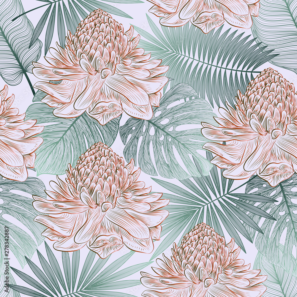 Wzór z liści tropikalnych palm i kwiatów imbiru. Ilustracji wektorowych.