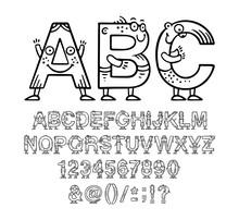 Cartoon Doodle Alphabet Or Font With Eyes And Smiles For Kids Designs