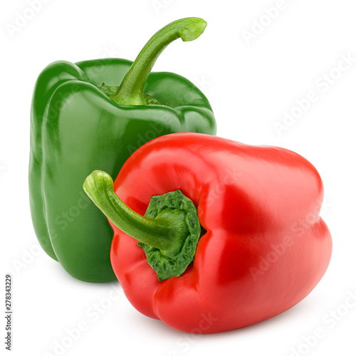 Tela sweet pepper, red, green paprika, isolated on white background, clipping path, f