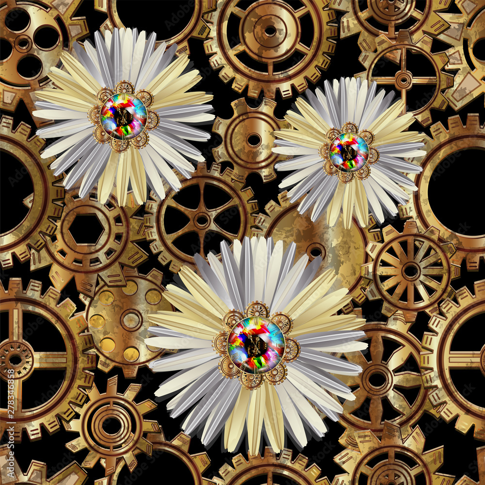 Seamless pattern with chamomile flower and gears in the style of steampunk. Vector illustration.
