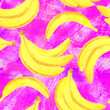 canvas print picture - Watercolor banana seamless pattern. Hand drawn fresh healthy dieting food illustration on grunge purple textured background for package design, textile, wrapping, menu, scrapbooking.