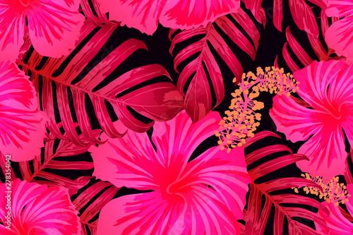 Foto auf Leinwand Künstlich Pink red exotic pattern.