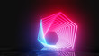 canvas print picture - Glowing neon hexagons on dark background