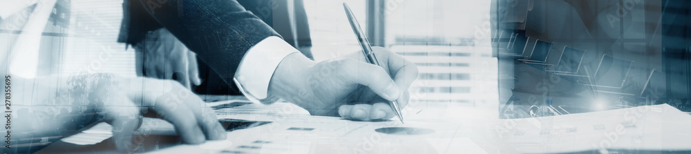 Fototapeta Business man signing a contract. Website header banner progect panorama.