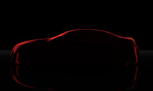 Car Covered With A Red Cloth Isolated On A Black Background. 3D Rendering Illistration