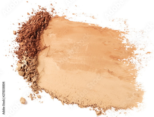 Tela Face powder stroke isolated on white background, top view