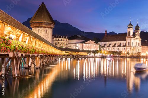 Old wooden architecture called Chapel Bridge in Luzern or Lucerne, Switzerland d Canvas Print