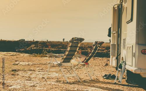 Camper on seaside, camping.