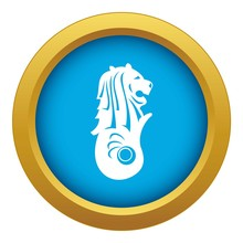 Merlion Statue, Singapore Icon Blue Vector Isolated On White Background For Any Design