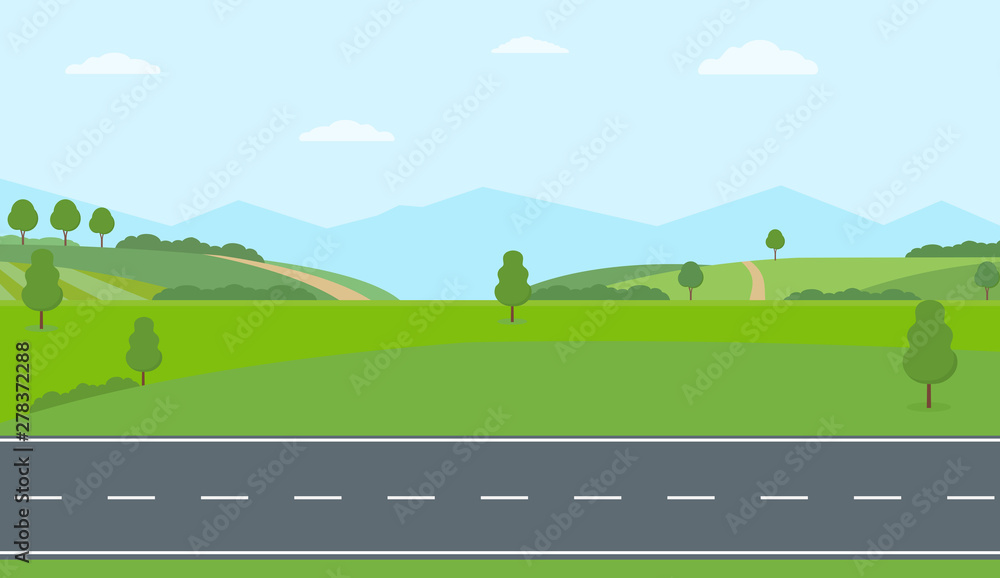 Fototapeta Straight empty road through the countryside. Green hills, blue sky, meadow and mountains. Summer landscape vector illustration.