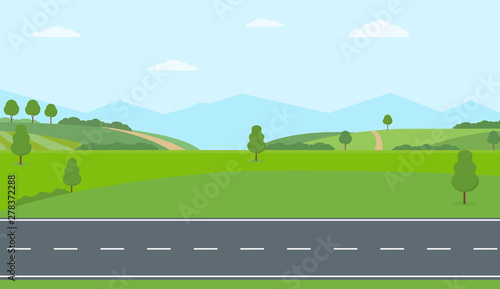 Fototapeta Straight empty road through the countryside. Green hills, blue sky, meadow and mountains. Summer landscape vector illustration. obraz