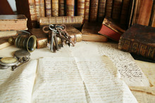 Antique Desk; Workspace With Old Books And Handwriting