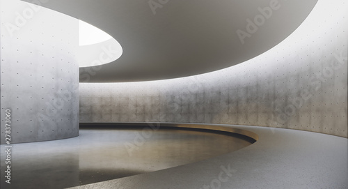 Fototapety, obrazy: Modern and futuristic empty light interior with concret wall and reflections on the floor. Concept of interior design and architecture. 3d rendering.