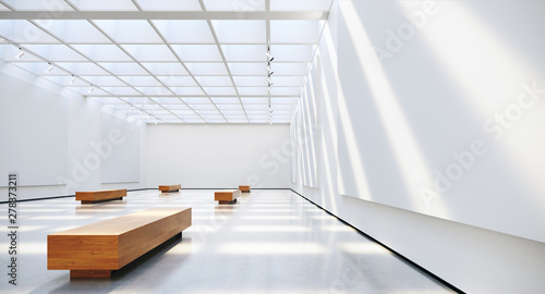 Foto Gallery interior with blank picture frames spot lights and natural sunlights
