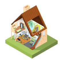 House Cutaway Isometric. Interior Of Modern House With Different Rooms With Furniture Vector Pictures. 3d House Modern With Furniture Cross-section Inside Illustration