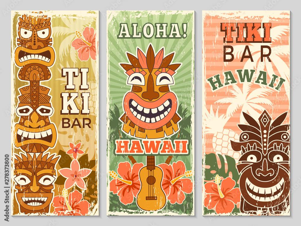 Fototapeta Hawaii retro banners. Aloha tourism summer adventure dancing party in tiki bar tribal masks vector illustration. Aloha hawaii, tribal tiki bar, exotic hawaiian adventure