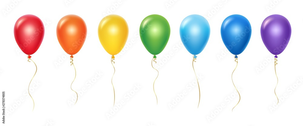 Fototapety, obrazy: Realistic rainbow balloons vector set. Balloons with ribbons isolated on white background. Balloon realistic for festival, flying helium ball illustration