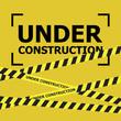 Under construction design, website development concept. Warning tape banner