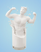 Splash Of Milk In Form Of Muscle Body, 3d Rendering.
