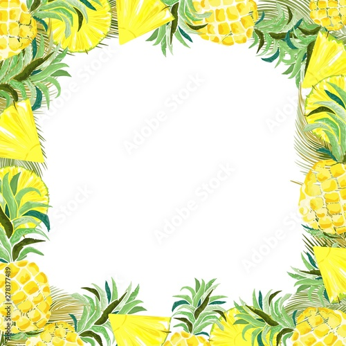 Foto op Canvas Draw Pineapple and Slices Watercolor Summer Frame Vector Background