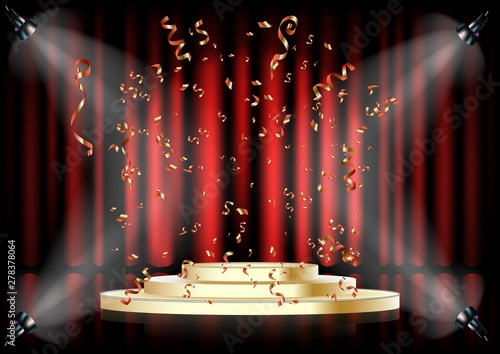 Fotografía  Podium on background of the red curtain