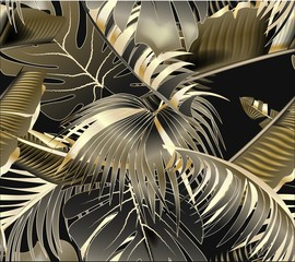 Obraz na Szkle Liście seamless pattern with gold and black tropical leaves on dark background. Rainforest.