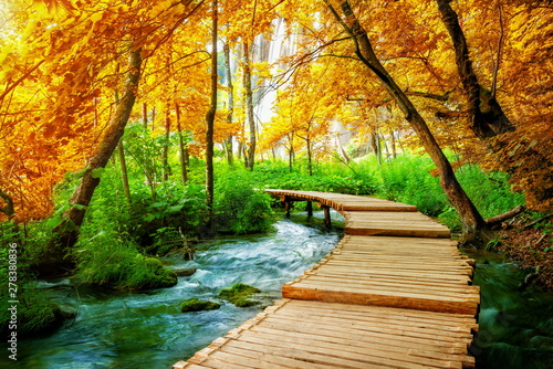 Foto auf Leinwand Wasserfalle Beautiful wooden path trail for nature trekking with lakes and waterfall landscape in Plitvice Lakes National Park, UNESCO natural world heritage and famous travel destination of Croatia.
