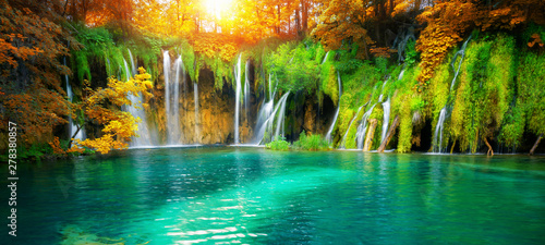 Foto auf Leinwand Wasserfalle Exotic waterfall and lake landscape of Plitvice Lakes National Park, UNESCO natural world heritage and famous travel destination of Croatia. The lakes are located in central Croatia (Croatia proper).