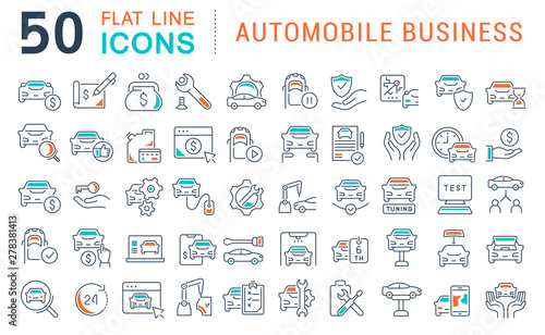 Set Vector Line Icons of Automobile Business Canvas-taulu