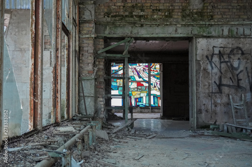 Photo  A stained glass window remains intact in an abandoned restaurant in Pripyat, Ukr