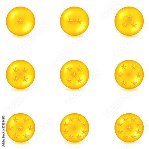Photo  nine golden ball and star isolated on white background